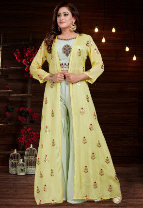 Embroidered Georgette Top with Sharara in Green and Yellow