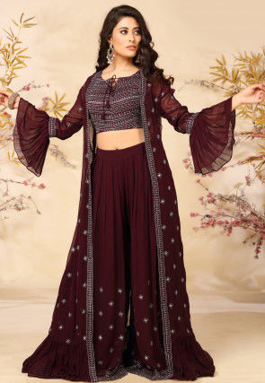 Embroidered Georgette Top with Sharara in Maroon