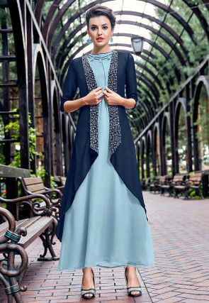Embroidered Georgette Tunic in Pastel Blue