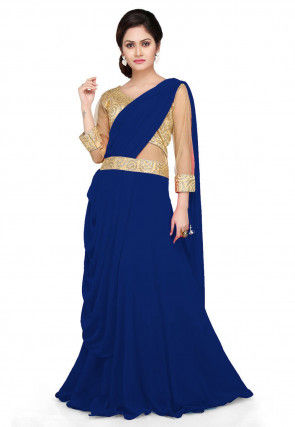 Embroidered Georgette Pleated Saree Style Gown in Navy Blue
