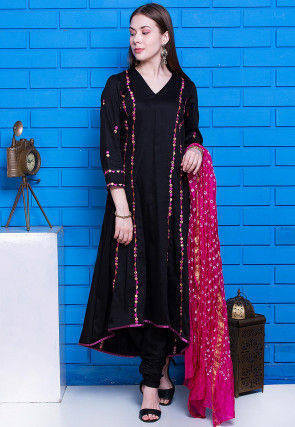 Embroidered Glazed Cotton Asymmetric A Line Suit in Black