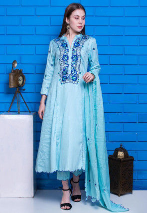 Embroidered Glazed Cotton Scalloped Pakistani Suit in Sky Blue