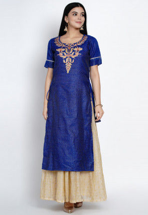Embroidered Jute Silk Gown in Royal Blue and Beige