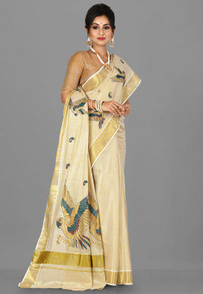Embroidered Kerela Kasavu Cotton Saree in Golden
