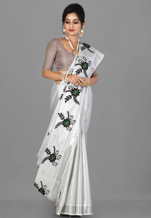 Embroidered Kerela Kasavu Cotton Saree in Silver