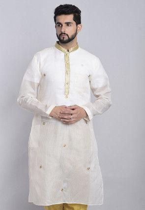 Embroidered Kota Silk Kurta in Off White
