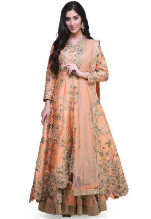 Embroidered Layered Raw Silk Abaya Style Suit in Pastel Orange