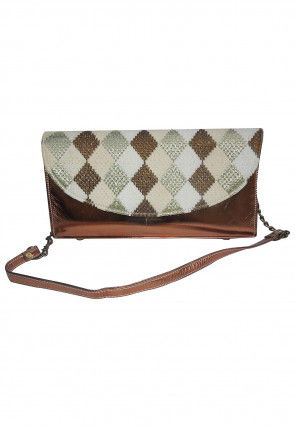 Embroidered Leather Clutch Bag in Copper and Off White