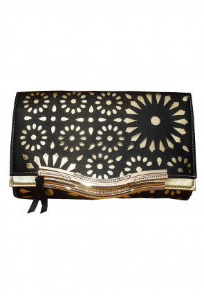 Embroidered Leather Flap Clutch Bag in Black