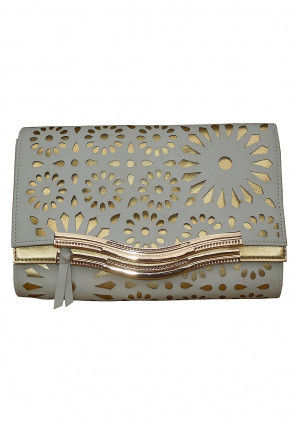 Embroidered Leather Flap Clutch Bag in White