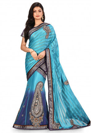 Embroidered Lehenga Style Chiffon Brasso Saree in Blue