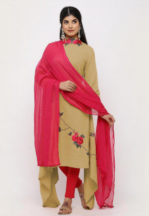 Embroidered Linen Cotton Asymmetric Straight Suit in Beige