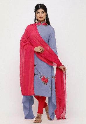 Embroidered Linen Cotton Asymmetric Straight Suit in in Dusty Blue
