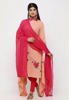 Embroidered Linen Cotton Asymmetric Straight Suit in in Peach