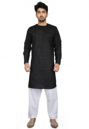 Embroidered Linen Cotton Kurta Set in Black