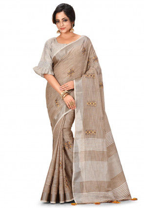 Embroidered Linen Cotton Saree in Fawn