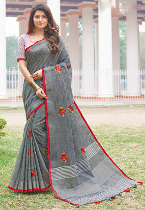 Embroidered Linen Cotton Saree in Grey