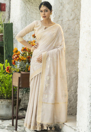 Embroidered Linen Cotton Saree in Light Beige