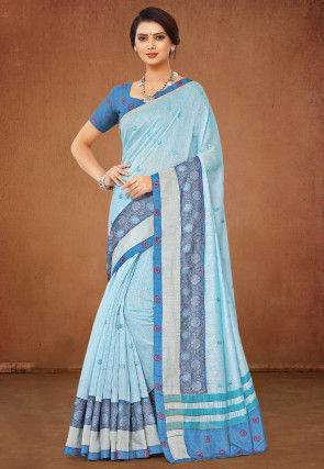 Embroidered Linen Cotton Saree in Light Blue