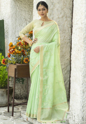 Embroidered Linen Cotton Saree in Light Green