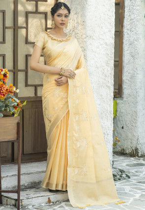 Embroidered Linen Cotton Saree in Light Yellow