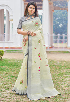 Embroidered Linen Cotton Saree in Off White
