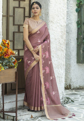 Embroidered Linen Cotton Saree in Old Rose