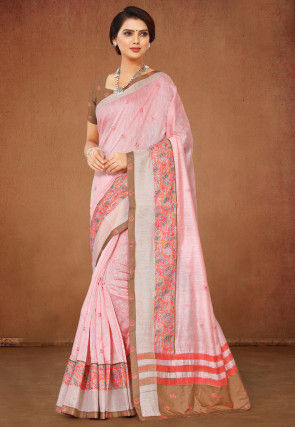 Embroidered Linen Cotton Saree in Pink