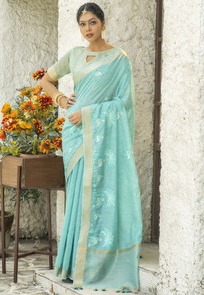 Embroidered Linen Cotton Saree in Sky Blue