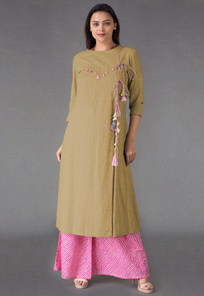 Embroidered Linen Front Slit Kurta Set in Beige