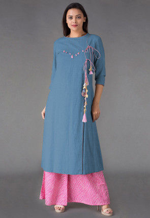 Embroidered Linen Front Slit Kurta Set in Light Blue