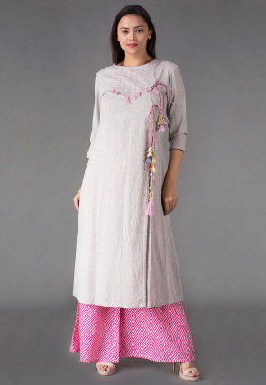 Embroidered Linen Front Slit Kurta Set in Light Grey