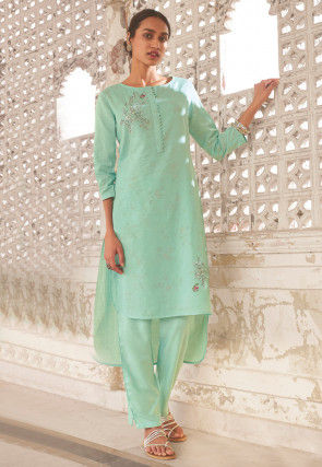 Embroidered Linen High Low Kurta Set in Sea Green