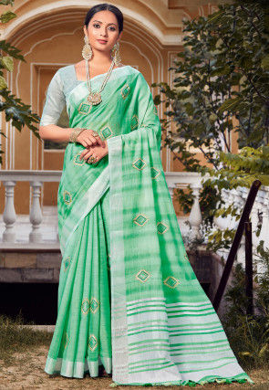 Embroidered Linen Saree in Light Green
