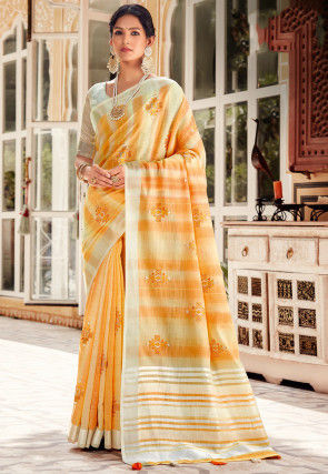 Embroidered Linen Saree in Light Yellow