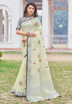 Embroidered Linen Saree in Off White