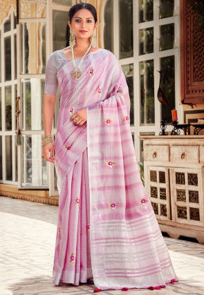 Embroidered Linen Saree in Pink