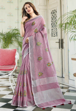 Embroidered Linen Saree in Purple