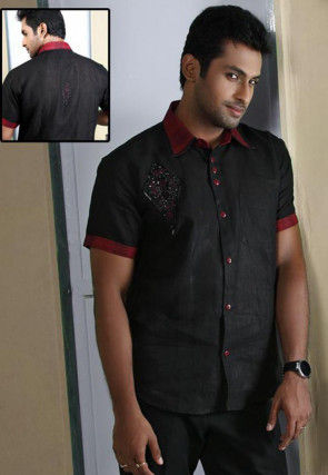 Embroidered Linen Shirt in Black