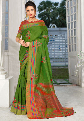 Embroidered Linen Silk Saree in Green