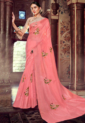 Embroidered Linen Silk Saree in Light Pink