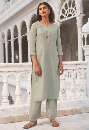 Embroidered Linen Straight Kurta Set in Grey