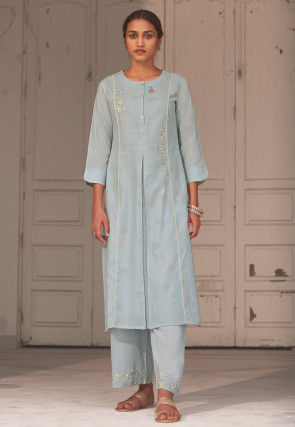 Embroidered Linen Straight Kurta Set in Light Blue