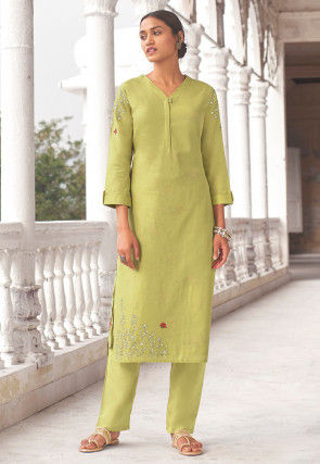 Embroidered Linen Straight Kurta Set in Light Green