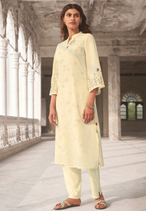 Embroidered Linen Straight Kurta Set in Off White