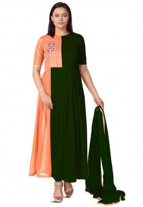 Embroidered Lycra Anarkali Suit in Dark Green and Peach