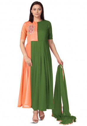 Embroidered Lycra Anarkali Suit in Green and Peach