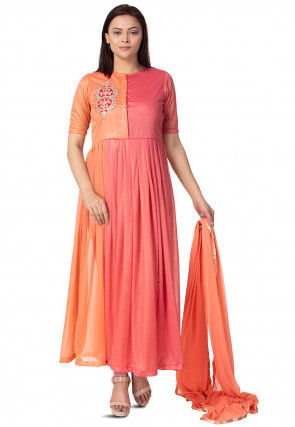 Embroidered Lycra Anarkali Suit in Peach