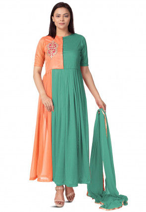 Embroidered Lycra Anarkali Suit in Teal Green and Peach