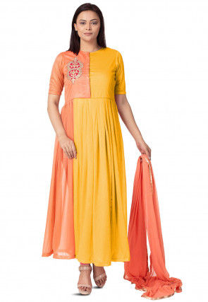 Embroidered Lycra Anarkali Suit in  Yellow and Peach